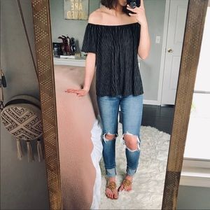 Anthro W5 Striped Off The Shoulder Top